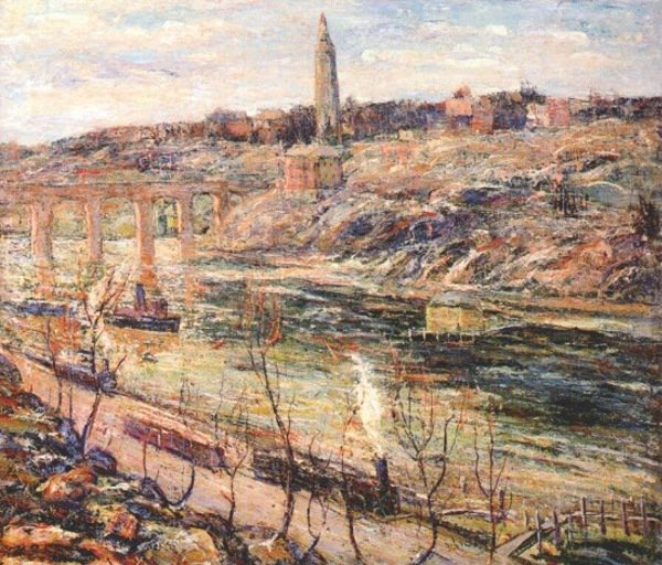 Harlem River at High Bridge   Ernest Lawson   oil painting