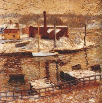 River Scene in Winter | Ernest Lawson | oil painting