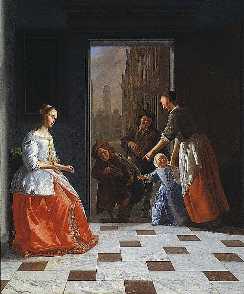 Street Musicians at the Door | Jacob Ochtervelt | oil painting