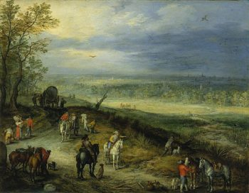 Extensive Landscape With Travellers on a Country Road | Jan Brueghel the Elder | oil painting