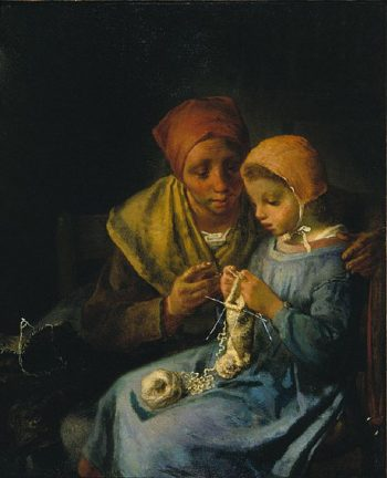 The Knitting Lesson | Jean Francois Millet | oil painting
