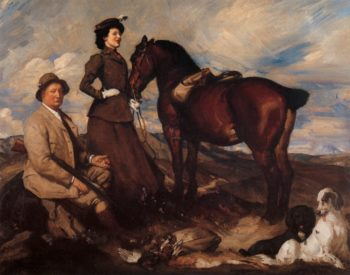 Miss Alison Preston and John Proctor on Mearbeck Moor | George Lambert | oil painting