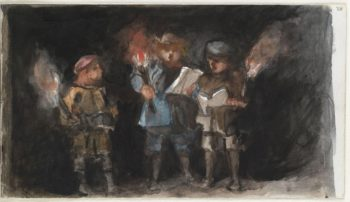 Unknown children probably carolers | Louisa Anne nae Stuart Marchioness of Waterford | oil painting