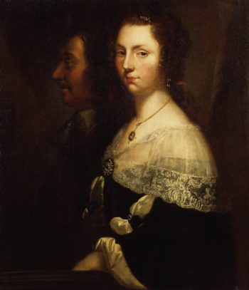 Unknown man and woman formerly known as Oliver Cromwell and his daughter | Unknown Artist | oil painting