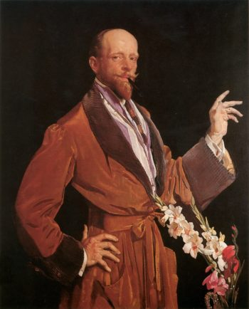 Self Portrait with Gladioli | George Lambert | oil painting