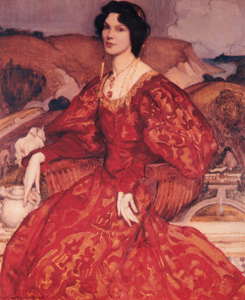 Sybil Walker in Red and Gold Dress | George Lambert | oil painting