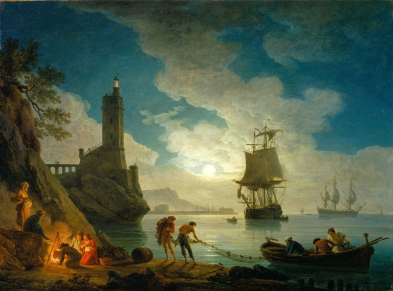 A Harbor in Moonlight | Joseph Vernet | oil painting