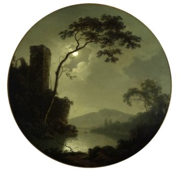 Lake with Castle on a Hill | Joseph Wright | oil painting