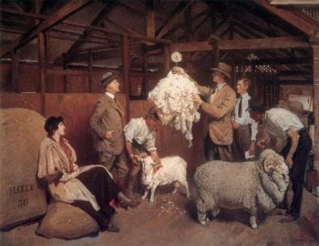Weighing the Fleece | George Lambert | oil painting