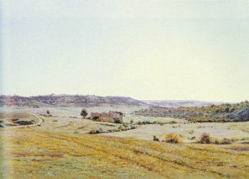 A Young Shepherd in an Extensive Landscape   Jean Ferdinand Monchablon   oil painting