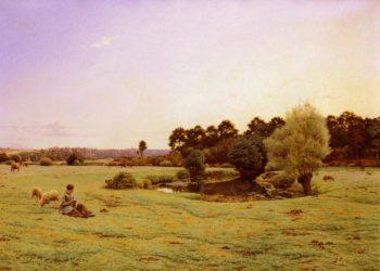 Le Paturage   Jean Ferdinand Monchablon   oil painting