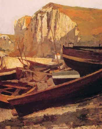 Boats at the foot of a cliff in Normandy | Jean Paul Laurens | oil painting