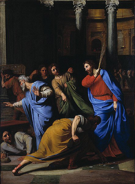 Christ Expelling the Money Changers from the Temple | Nicolas Colombel | oil painting