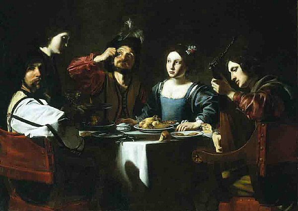 Banquet Scene with a Lute Player | Nicolas Tournier | oil painting