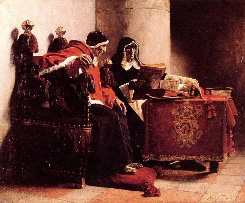 The Pope and the Inquisitor known as Sixtus IV and Torquemada   Jean Paul Laurens   oil painting