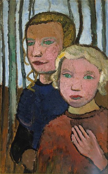 Two Girls in Front of Birch Trees | Paula Modersohn Becker | oil painting