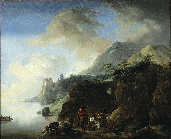 Travelers Awaiting a Ferry | Philips Wouwerman | oil painting