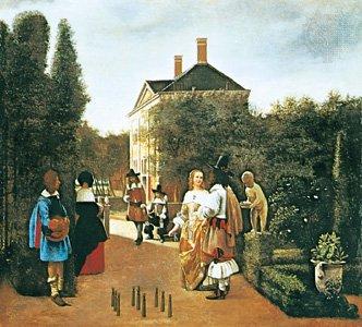 Skittle Players in a Garden | Pieter de Hooch | oil painting