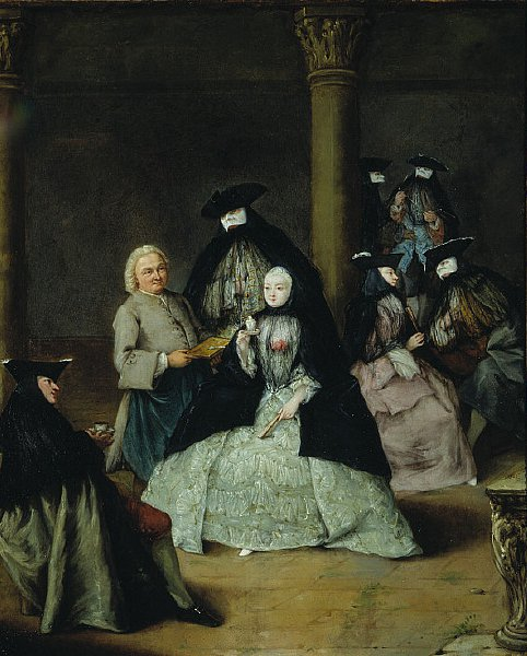 Masked Party in a Courtyard   Pietro Longhi   oil painting