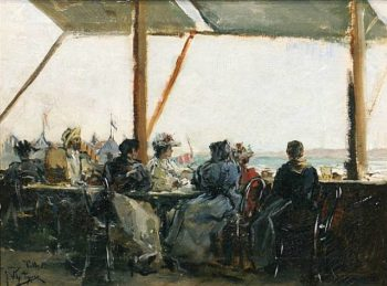 Cafe en la Terraza | Julio Vila Prades | oil painting