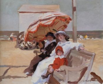 En la playa | Julio Vila Prades | oil painting
