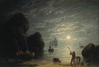 Moonlight Coastal Scene | Robert Salmon | oil painting
