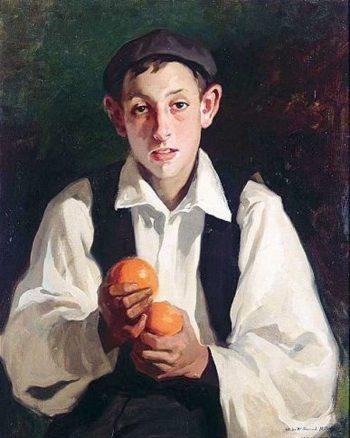 Nina con naranjas | Julio Vila Prades | oil painting