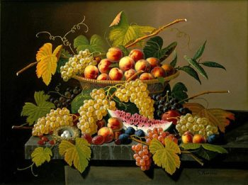 Still Life with a Basket of Fruit | Severin Roesen | oil painting