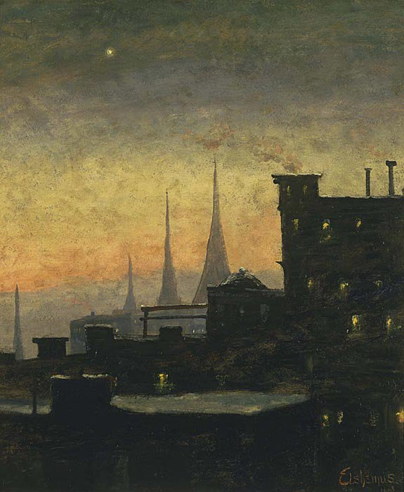 New York Roof Tops | Louis M Eilshemius | oil painting