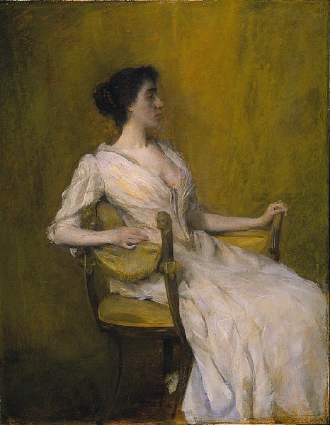 Lady in White   Thomas Dewing   oil painting