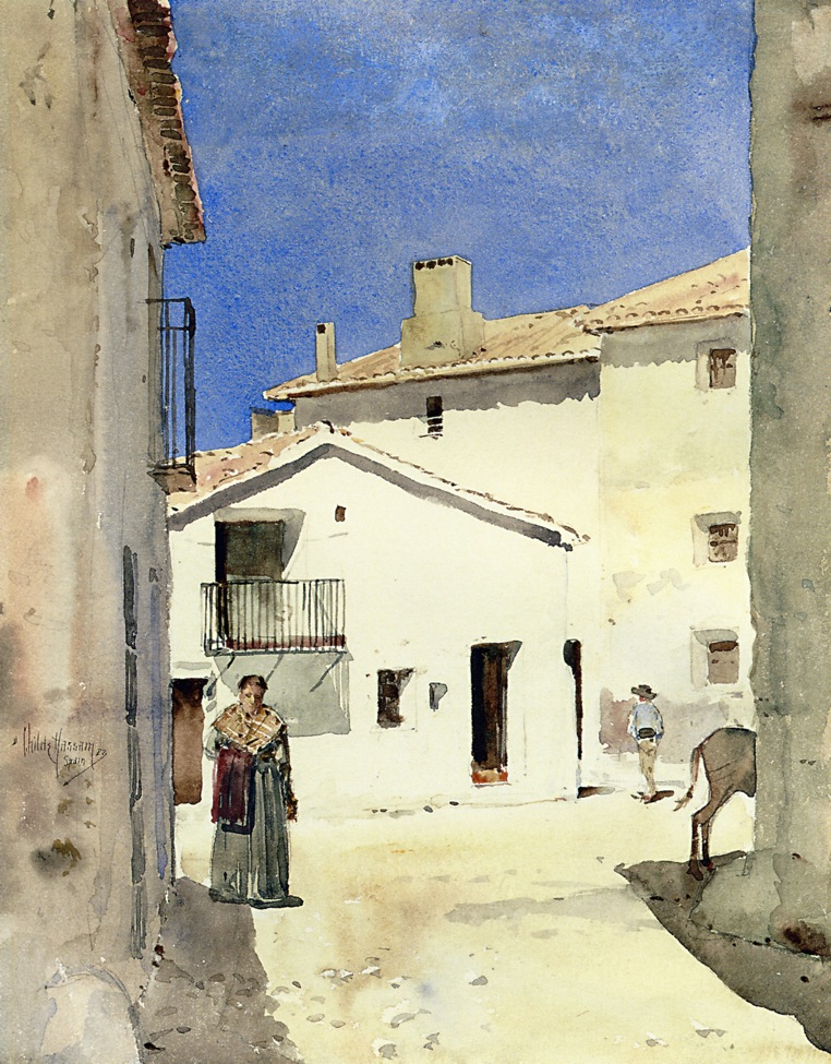 A Street in Denia Spain | Frederick Childe Hassam | oil painting