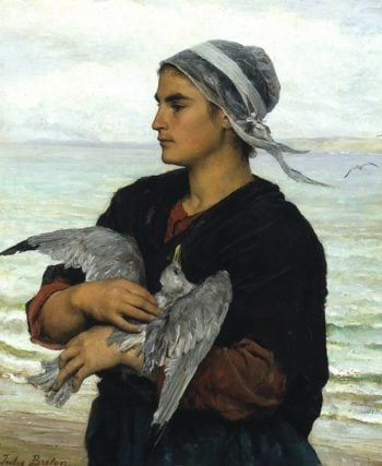 The Wounded Sea Gull | Jules Breton | oil painting