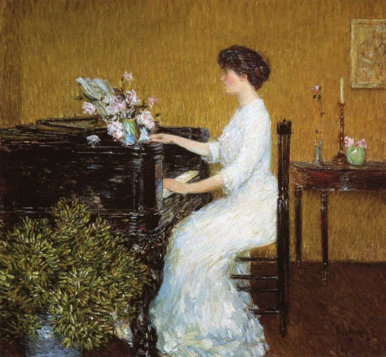 At the Piano | Frederick Childe Hassam | oil painting