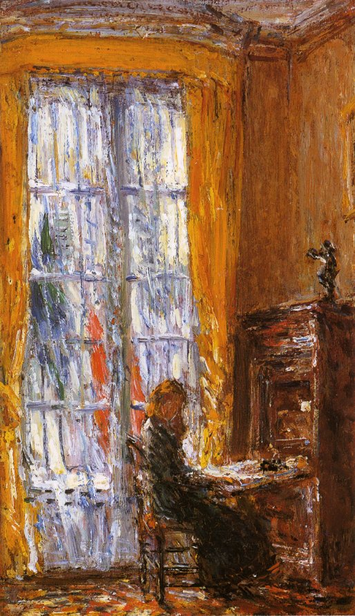 At the Writing Desk | Frederick Childe Hassam | oil painting