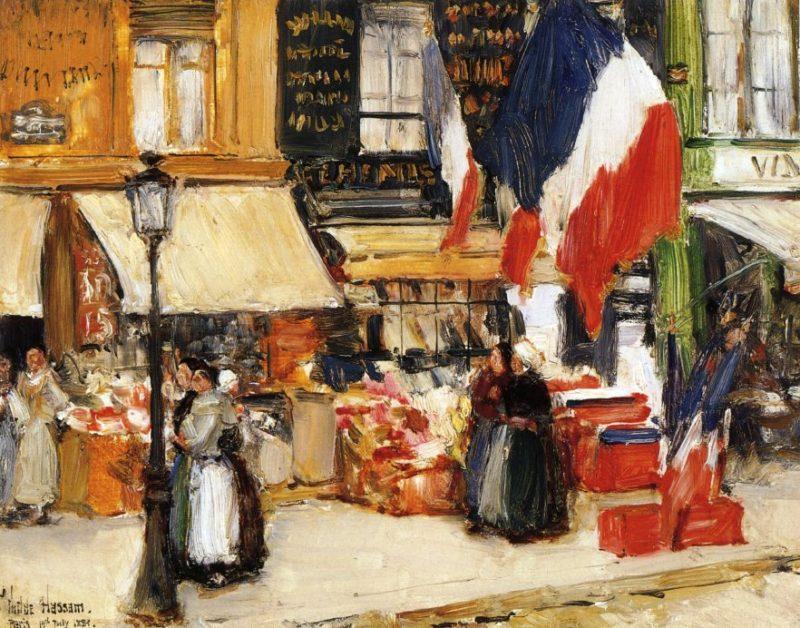 Bastille Day Boulevard Rochechouart Paris   Frederick Childe Hassam   oil painting