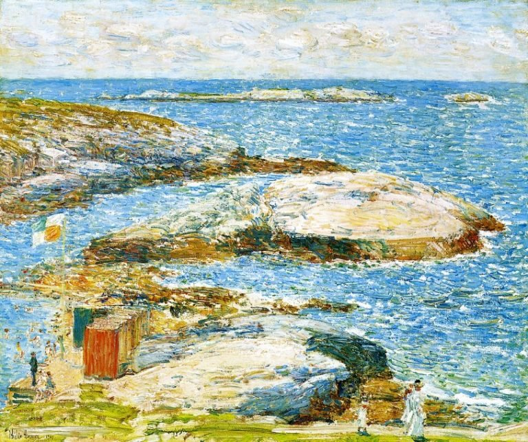 Bathing Pool Appledore | Frederick Childe Hassam | oil painting