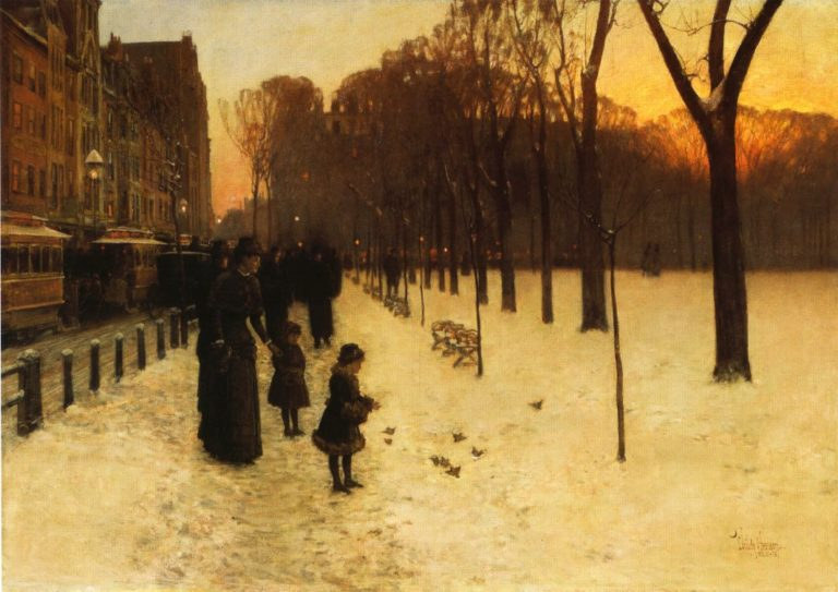 Boston Common at Twilight   Frederick Childe Hassam   oil painting
