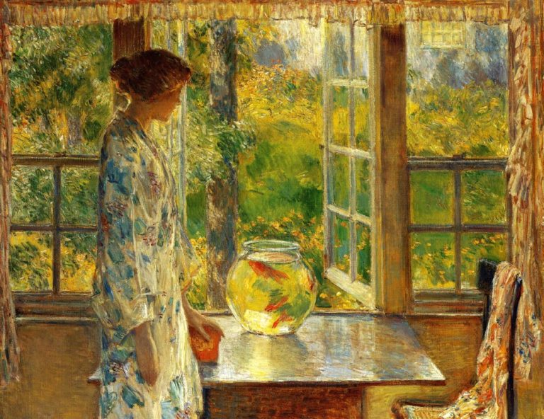 Bowl of Goldfish | Frederick Childe Hassam | oil painting