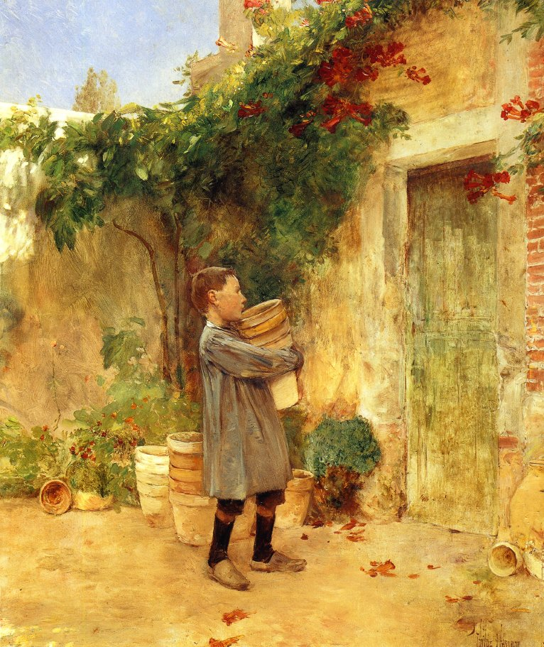 Boy with Flower Pots | Frederick Childe Hassam | oil painting