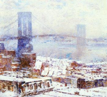 Brooklyn Bridge in Winter | Frederick Childe Hassam | oil painting