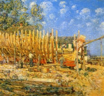 Building the Schooner Provincetown | Frederick Childe Hassam | oil painting