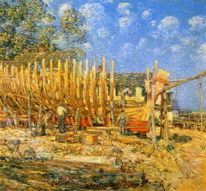Building the Schooner Provincetown   Frederick Childe Hassam   oil painting