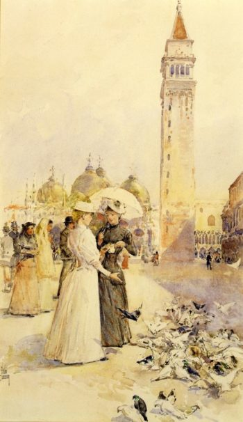 Feeding Pigeons in the Piazza | Frederick Childe Hassam | oil painting