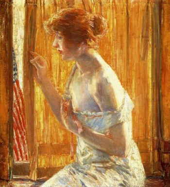 The Flag Outside Her Window, April 1918 (also known as Boys Marching By, 1918) Frederick Childe Hassam