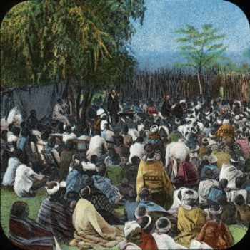 Bechuana Congregation relates to David Livingstone | The London Missionary Society | oil painting