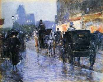 Horse Drawn Cabs at Evening, New York Frederick Childe Hassam