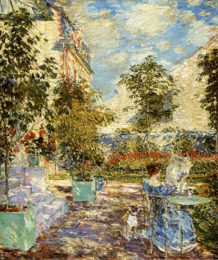 In a French Garden | Frederick Childe Hassam | oil painting