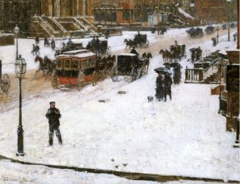 Fifth Avenue in Winter Painting Painted originally by Frederick Childe Hassam