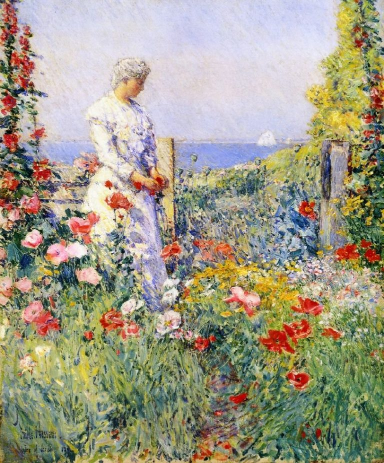In the Garden1 (also known as Celia Thaxter in Her Garden)   Frederick Childe Hassam   oil painting