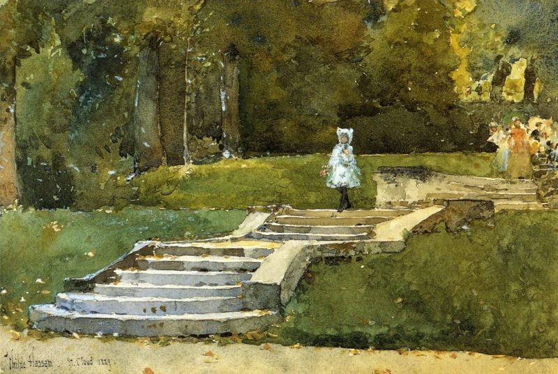In the Park at St. Cloud   Frederick Childe Hassam   oil painting